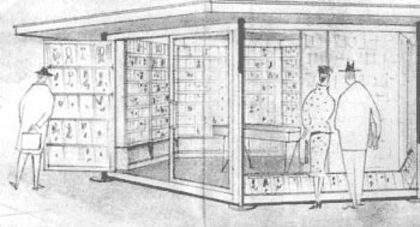 Progetto del 1960 di edicola esclusivamente libraria, un tentativo in largo anticipo sui tempi.